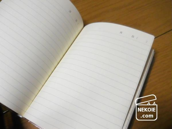 でも無印良品のこちらは、本当に日記帳タイプ。