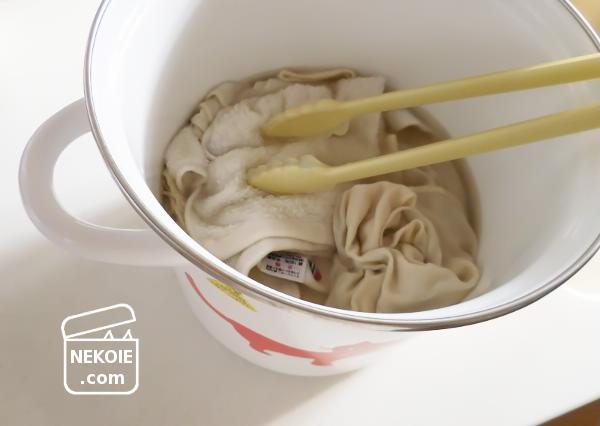 のんびりぐつぐつ、重曹での煮洗い。