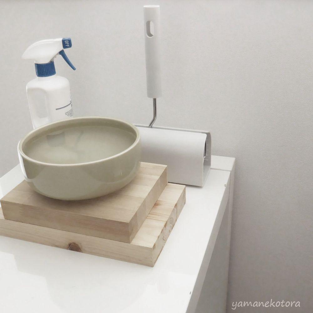 猫の水のうつわは、ここに置く。