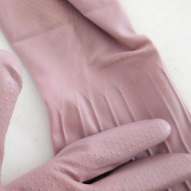 ゴム手袋の、小さなキズ補修。